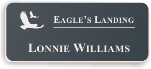 Smooth Plastic Name Tag: Smoke Grey with White - LM922-312