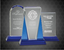 Crystal Award on Blue Pedestal Base