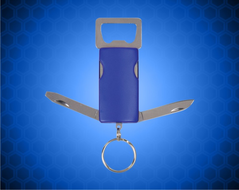 1 x 3 Blue 2-Tool Bottle Opener with Key Chain