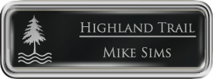 Framed Name Tag: Silver Plastic (rounded corners) - Black and Silver Plastic Insert with Epoxy