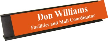 Tangerine Plastic Plate with White Text, Black Deskplate