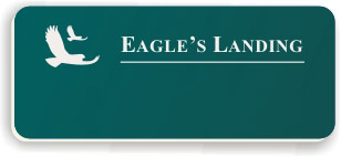 Blank Smooth Plastic Name Tag with Logo: Evergreen and White - LM 922-912