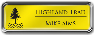 Framed Name Tag: Silver Metal (rounded corners) - Canary Yellow and Black Plastic Insert with Epoxy