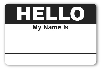 Sticker Hello My Name Is Black Name Tags