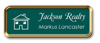 Rose Gold Metal Framed Nametag with Evergreen and White