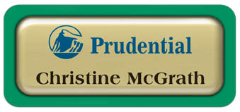 Metal Name Tag: Shiny Gold Metal Name Tag with a Bright Green Plastic Border and Epoxy