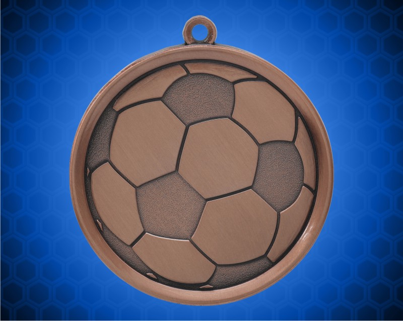 2 1/4 inch Bronze Soccer Mega Medal