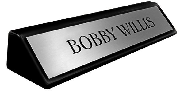 "Brushed Silver Metal Plate on an 8"" Black Piano Finish Deskplate"