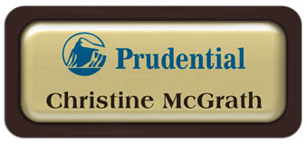 Metal Name Tag: Shiny Gold Metal Name Tag with a Dark Brown Plastic Border and Epoxy