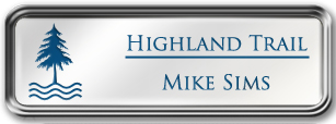 Framed Name Tag: Silver Metal (rounded corners) - White and Sky Blue Plastic Insert with Epoxy