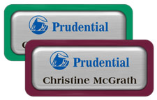 Brushed Silver Metal Name Tags with Plastic Borders and Epoxy
