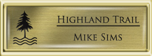 Framed Name Tag: Gold Plastic (squared corners) - Brushed Gold and Black Plastic Insert with Epoxy