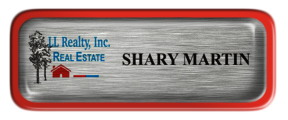 Metal Name Tag: Brushed Silver with Epoxy and Red Metal Border