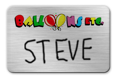 Brushed Silver Dry Erase Name Tag with Logo