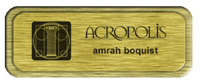 Metal Name Tag: Brushed Gold with Brushed Gold Metal Border