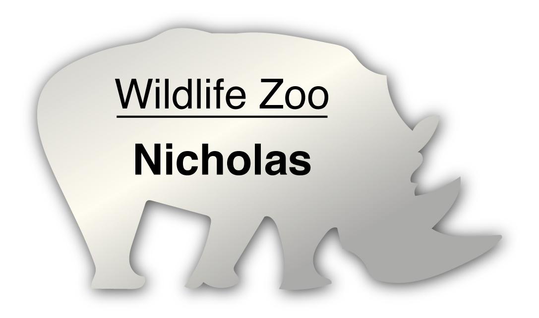 Smooth Plastic Rhino Shape Name Tag - 1.8 x 3.2 inches