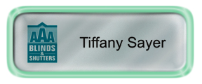 Metal Name Tag: Shiny Silver with Shiny Green Metal Border