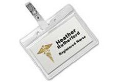 "Name Badge Holder Sleeve with Strap Clip 2.25"" x 3.5"""
