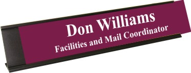 Claret Plastic Plate with White Text, Black Deskplate