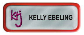 Metal Name Tag: Shiny Silver with Red Metal Border
