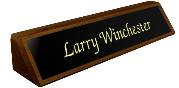 Solid Walnut Desk Plate - Black Metal Plate with Gold Engraving