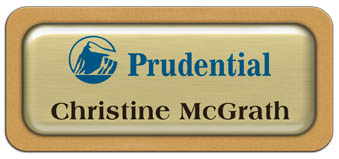Metal Name Tag: Brushed Gold Metal Name Tag with a Gold Plastic Border and Epoxy