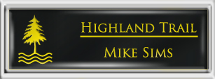 Framed Name Tag: Silver Plastic (squared corners) - Black and Yellow Plastic Insert with Epoxy