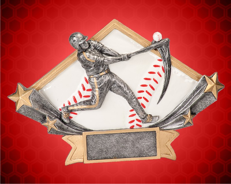 4 1/4 x 6 1/4 Inch Male Baseball Diamond Star Resin