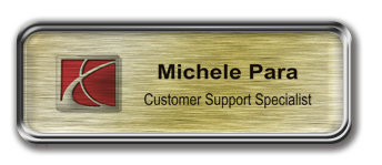 Silver Metal Framed Epoxy Nametag with Brushed Gold Metal Insert