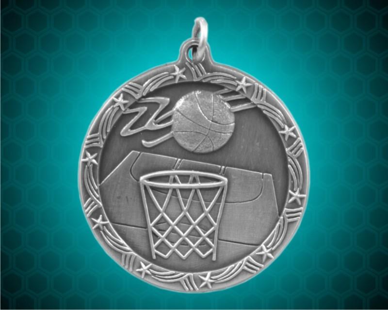 2 1/2 inch Silver Basketball Shooting Star Medal