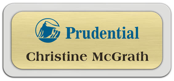 Metal Name Tag: Brushed Gold Metal Name Tag with a Light Grey Plastic Border