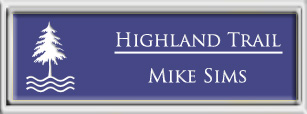 Framed Name Tag: Silver Plastic (squared corners) - Purple and White Plastic Insert