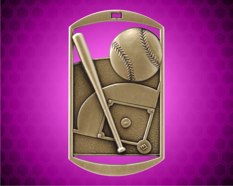 2 3/4 inch Gold Baseball DT Medal