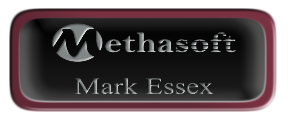 Metal Name Tag: Black and Silver with Epoxy and Burgundy Metal Border