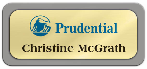 Metal Name Tag: Shiny Gold Metal Name Tag with a Grey Plastic Border