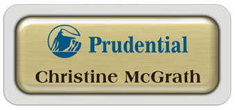 Metal Name Tag: Brushed Gold Metal Name Tag with a Light Grey Plastic Border and Epoxy