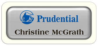 Metal Name Tag: Shiny Silver Metal Name Tag with a White Plastic Border and Epoxy