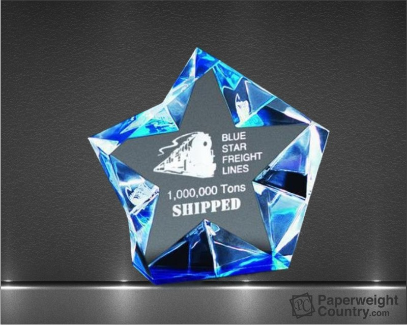 4 1/4 x 4 1/2 x 1 1/2 Inch Multi Faceted Blue Sparkling Star Acrylic Paperweight