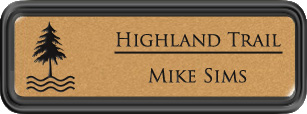 Framed Name Tag: Black Plastic (rounded corners) - Smooth Gold and Black Plastic Insert