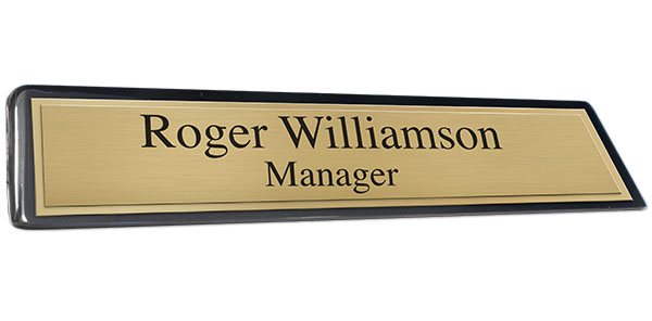 Black Piano Finish Desk Plate with Brushed Gold Plate and Shiny Gold Border