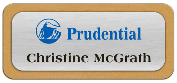 Metal Name Tag: Brushed Silver Metal Name Tag with a Gold Plastic Border