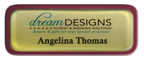 Metal Name Tag: Shiny Gold with Epoxy and Burgundy Metal Border