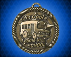 "2 inch Gold ""I Come to School"" Value Medal"
