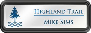 Framed Name Tag: Black Plastic (rounded corners) - White and Sky Blue Plastic Insert with Epoxy