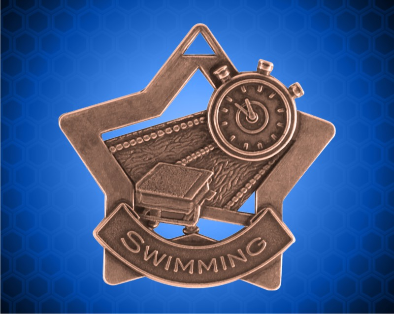 2 1//4 inch Bronze Swimming Star Medal