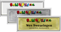 Square Cornered Plastic Silver Framed Name Tags with Epoxy