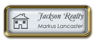 Framed Name Tag: Gold Metal (rounded corners) - Brushed Aluminum and Black Plastic Insert with Epoxy