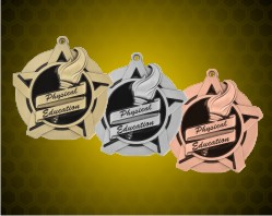 2 1/4 inch Physical Education Super Star Medals
