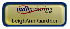 Metal Name Tag: Shiny Gold with Epoxy and Blue Metal Border