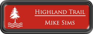 Framed Name Tag: Black Plastic (rounded corners) - Crimson and White Plastic Insert